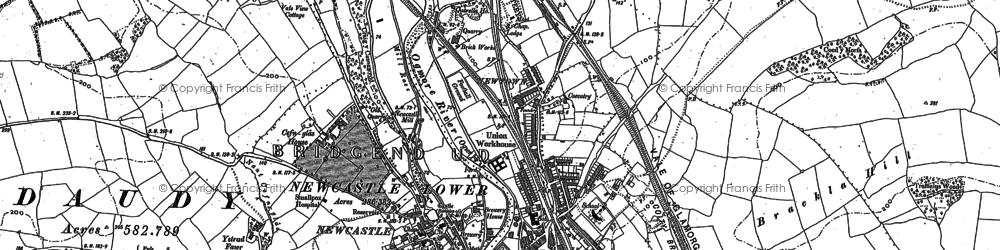 Old map of Bridgend in 1913