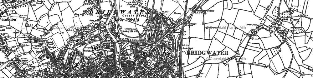 Old map of Bridgwater in 1886