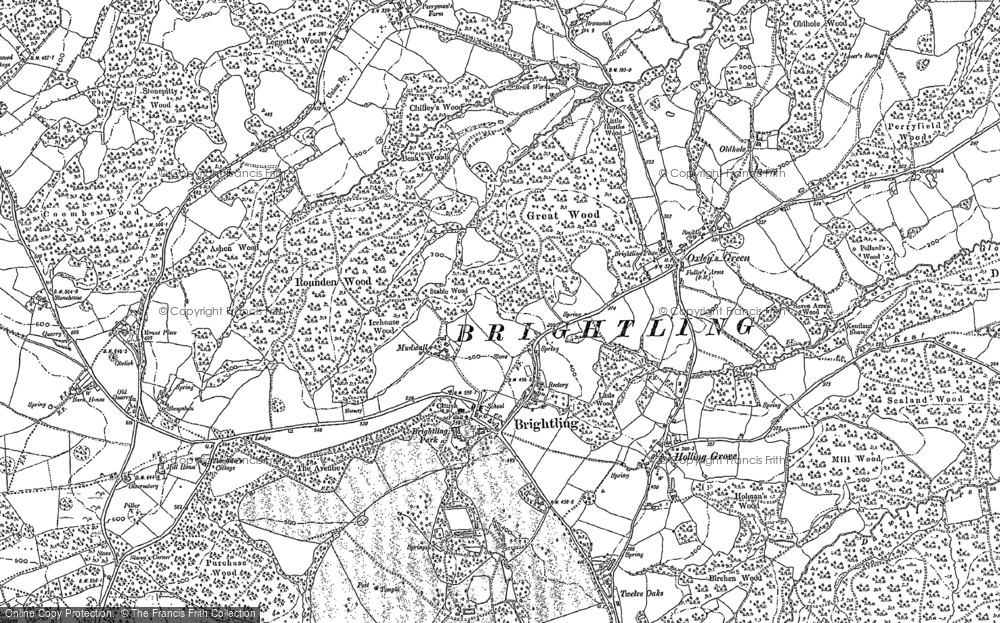 Old Map of Brightling, 1897 in 1897