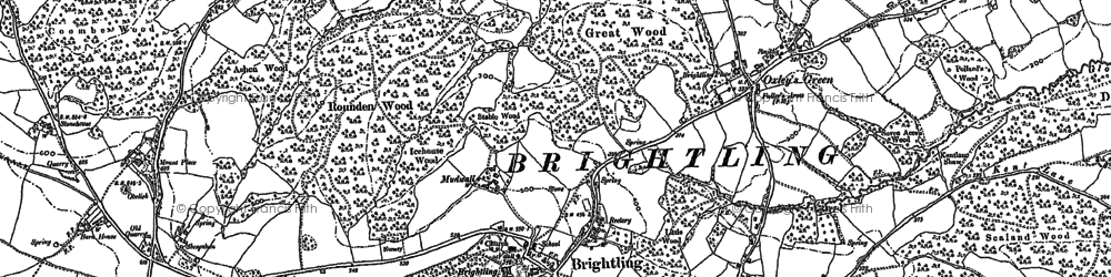 Old map of Brightling in 1897