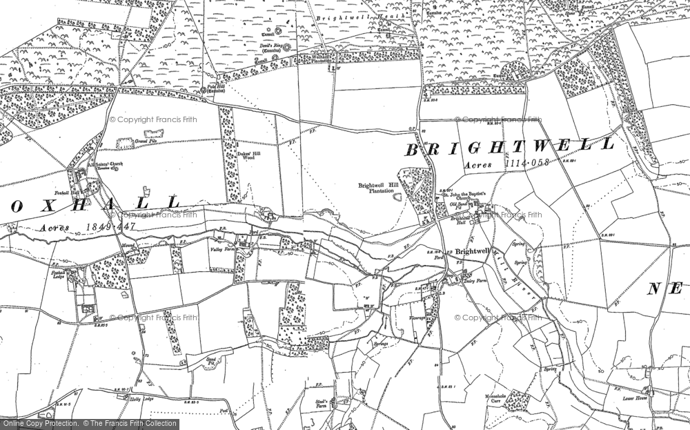 Map of Brightwell, 1880 - 1881