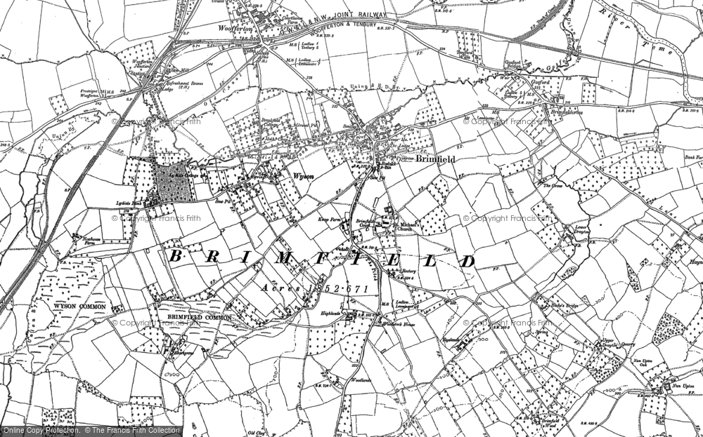 Old Map of Historic Map covering Tomlin's Hill in 1885