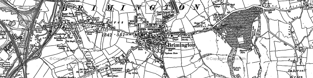 Old map of Brimington in 1876