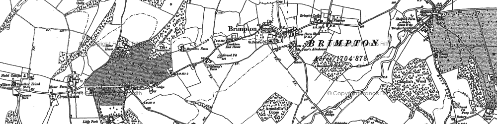 Old map of Brimpton in 1909