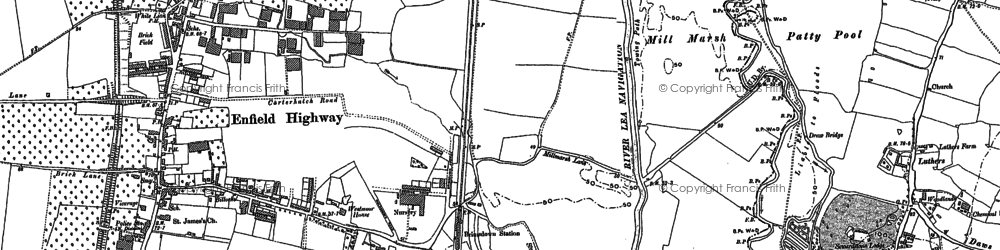Old map of Ponders End in 1895