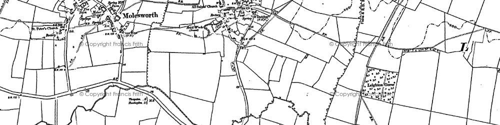 Old map of Brington in 1889