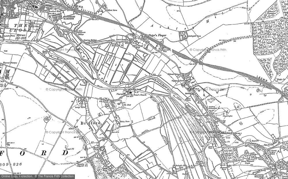 Old Map of Historic Map covering Ashley Hill in 1900