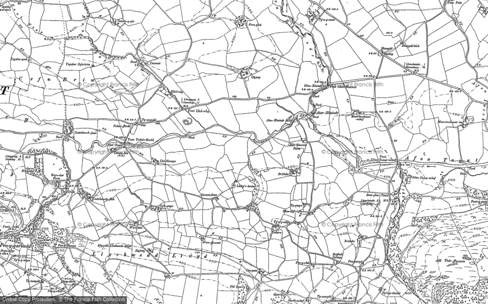 Old Map of Historic Map covering Allt Tair Ffynnon in 1885