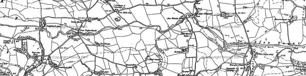 Old map of Aber Rhaeadr in 1885
