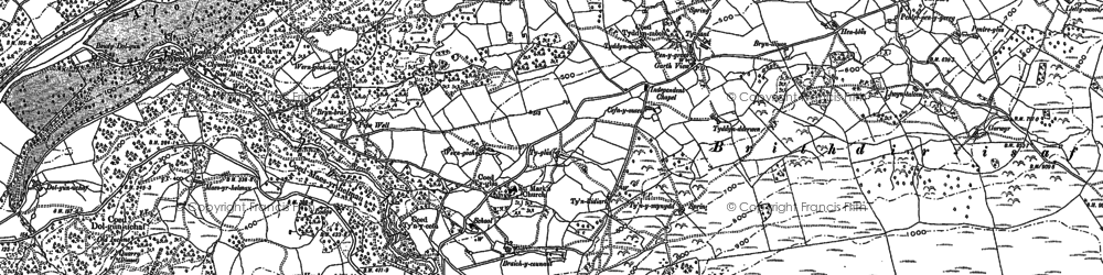 Old map of Afon Wnion in 1887