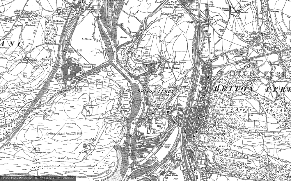 Old Map of Briton Ferry, 1897 in 1897