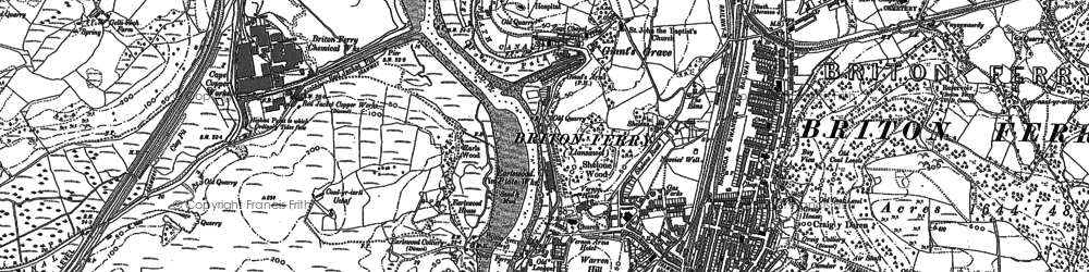 Old map of Briton Ferry in 1897