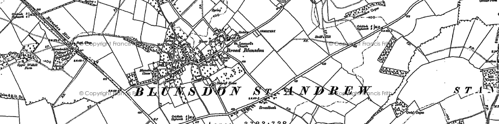 Old map of Blunsdon St Andrew in 1899