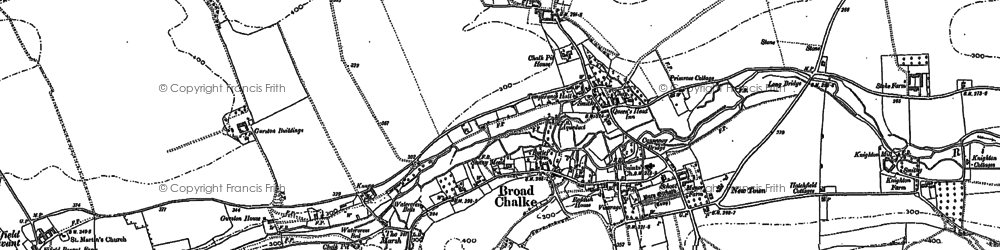Old map of Broad Chalke in 1884
