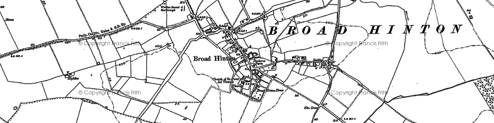 Old map of Broad Hinton in 1899