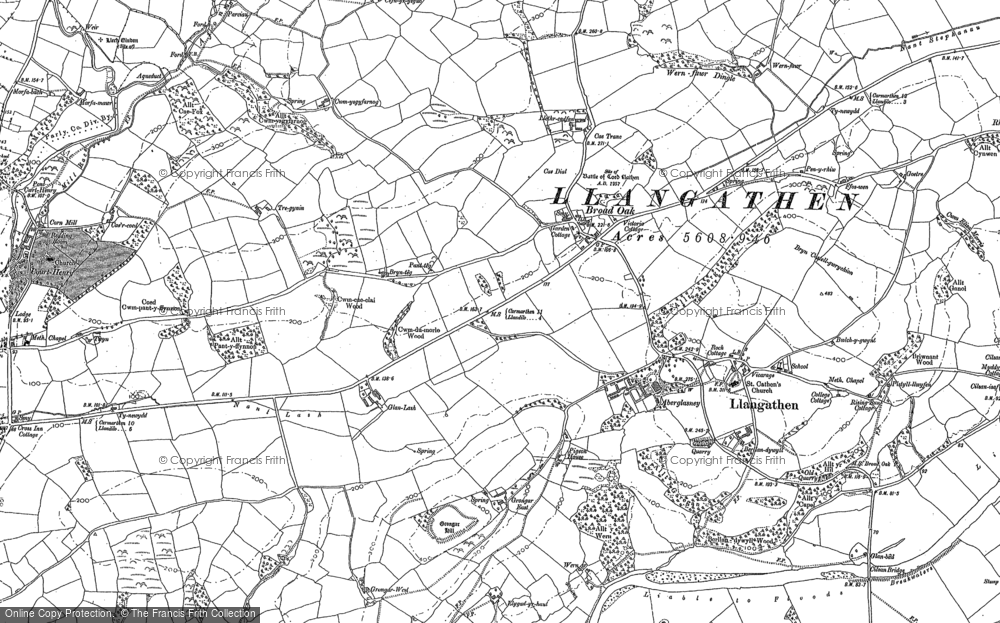 Old Map of Historic Map covering Tirpab in 1885