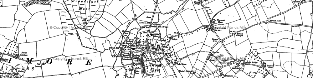 Old map of Broadclyst in 1886
