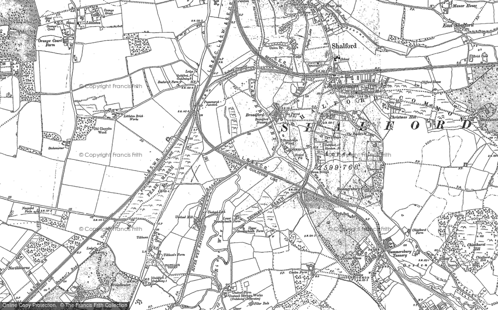 Old Map of Historic Map covering Unstead in 1895