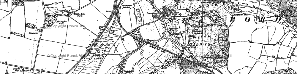 Old map of Unstead in 1895
