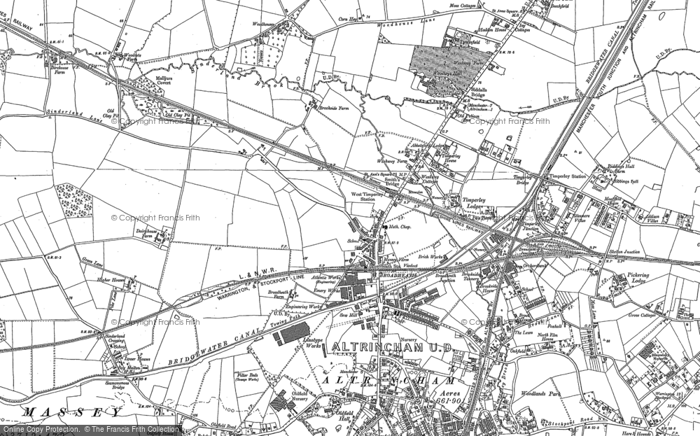 Old Map of Historic Map covering Woodhouses in 1897