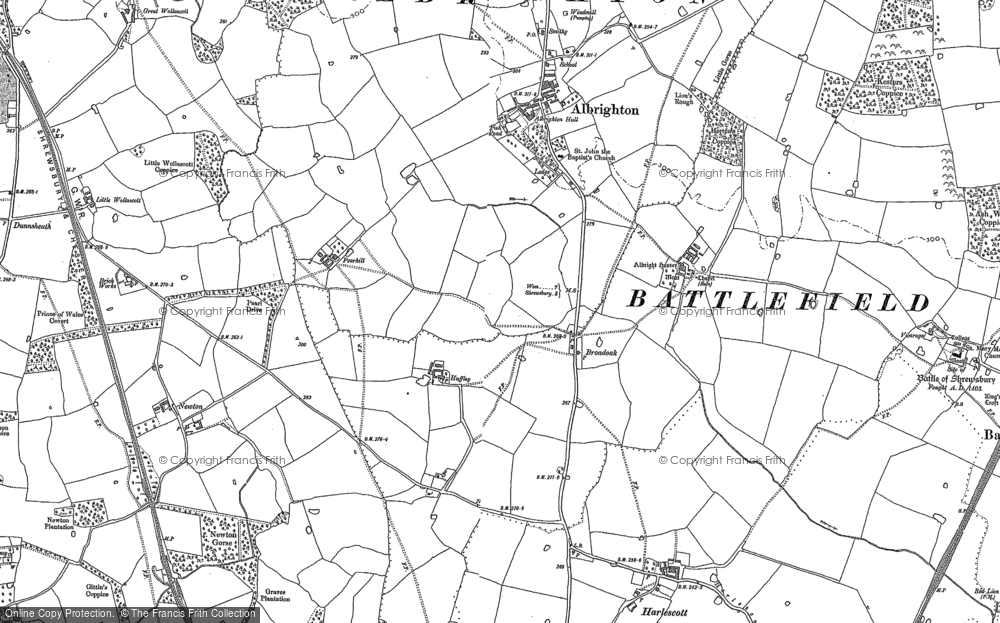 Old Map of Historic Map covering Albright Hussey in 1881
