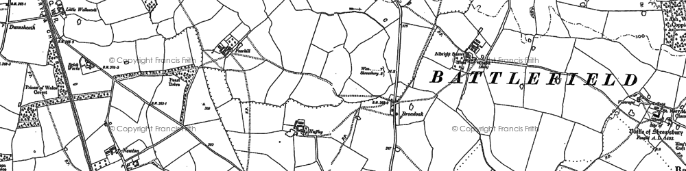 Old map of Albright Hussey in 1881