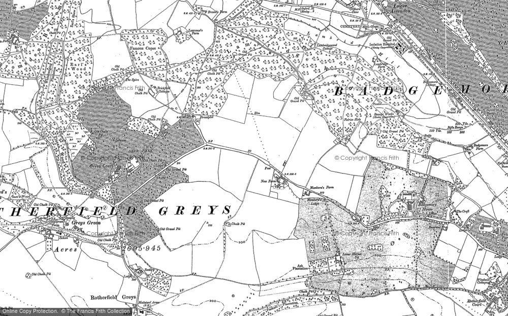 Old Map of Historic Map covering Badgemore Ho in 1897