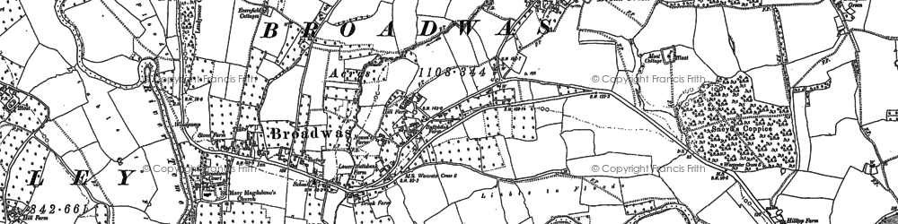 Old map of Broadwas in 1884