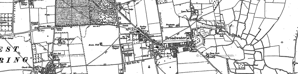 Old map of Broadwater in 1909