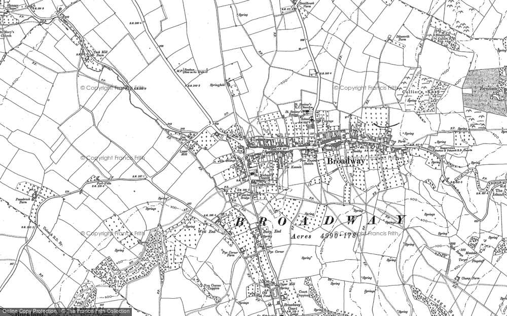 Old Maps of Broadway Francis Frith