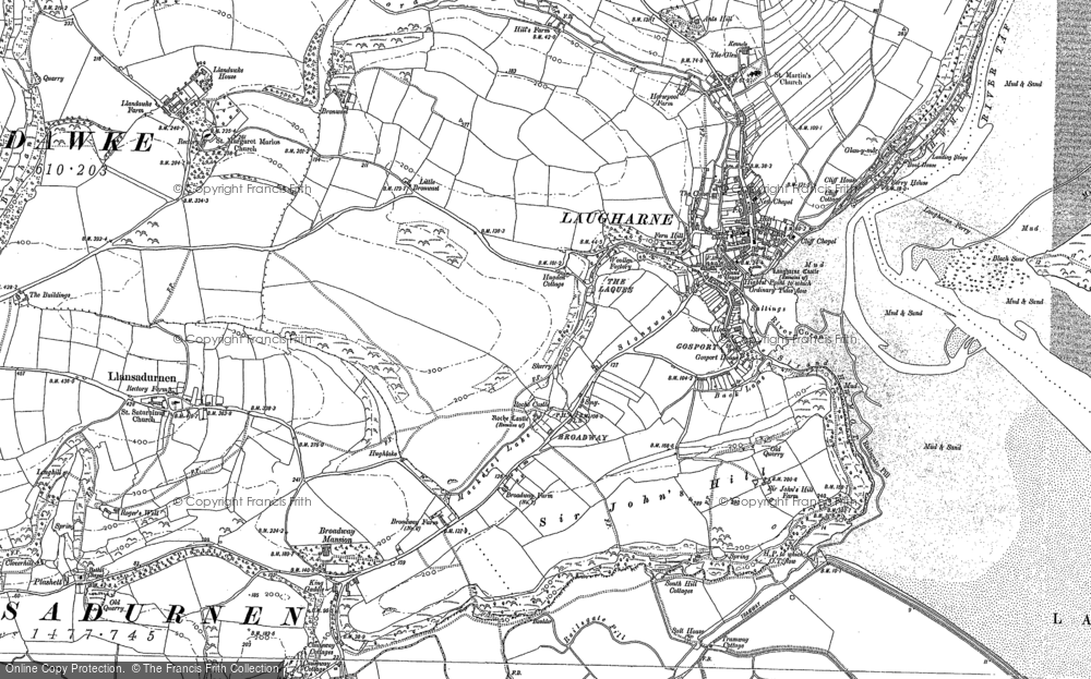 Old Map of Historic Map covering Laugharne Burrows in 1887