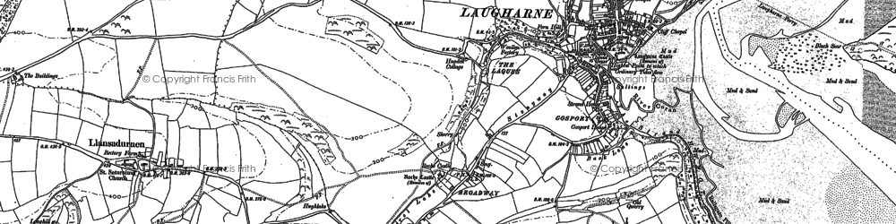 Old map of Laugharne Burrows in 1887