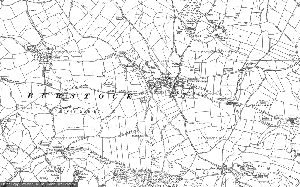 Old Map of Historic Map covering Lewesdon Hill in 1886
