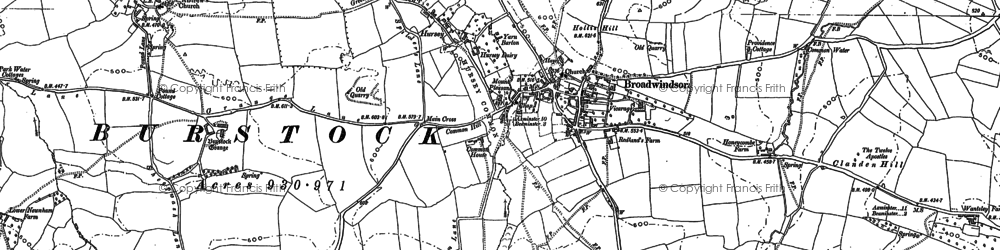 Old map of Lewesdon Hill in 1886