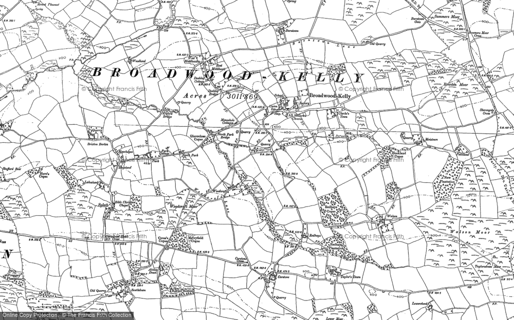 Old Map of Historic Map covering Woodcroft in 1885