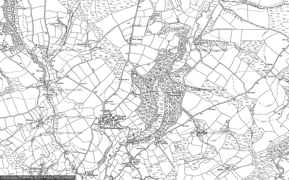Old Map of Broadwoodwidger, 1883 - 1905 in 1883