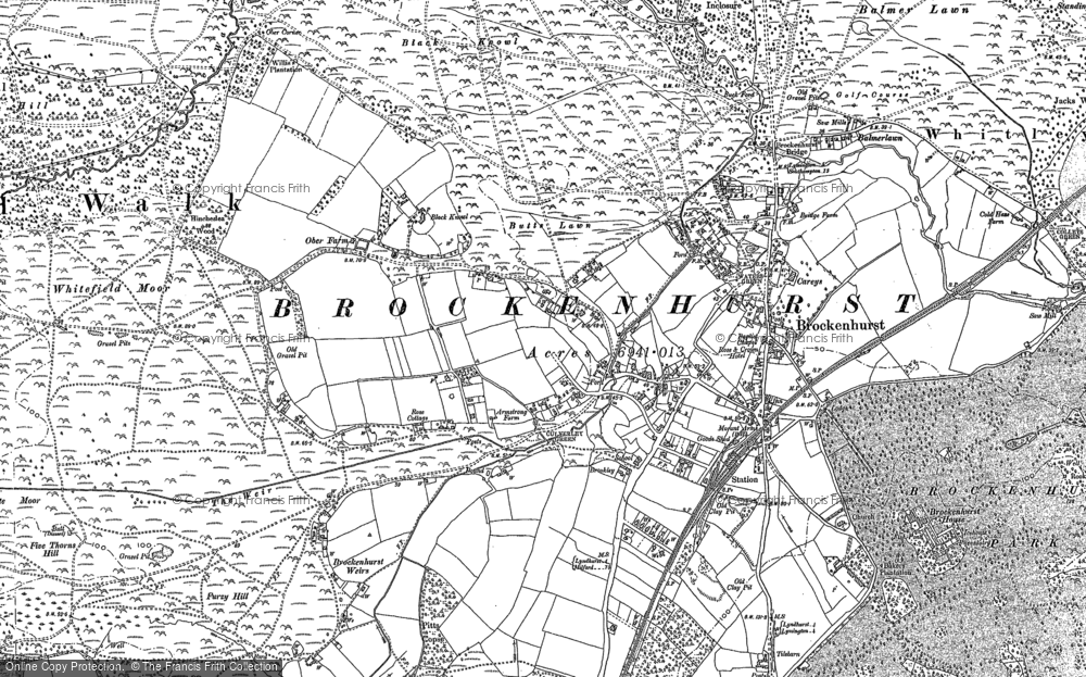 Old Map of Historic Map covering Aldridgehill Inclosure in 1896