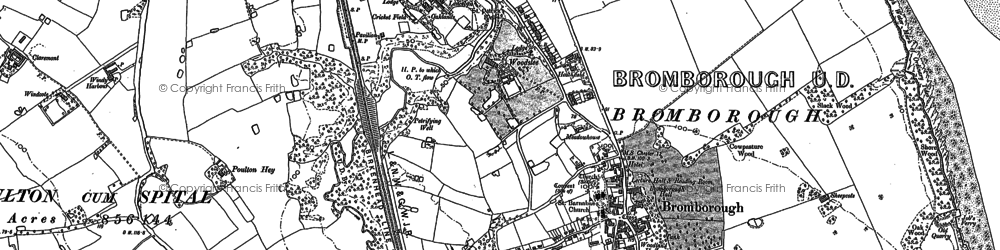 Old map of Bromborough in 1897