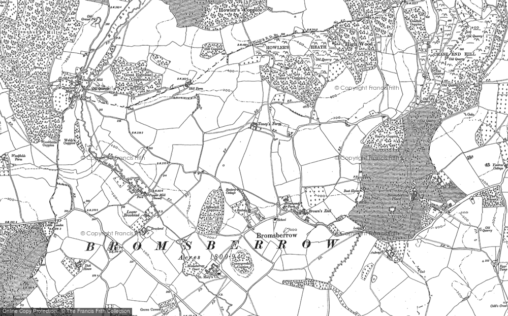Old Map of Historic Map covering Whiteleaved Oak in 1883