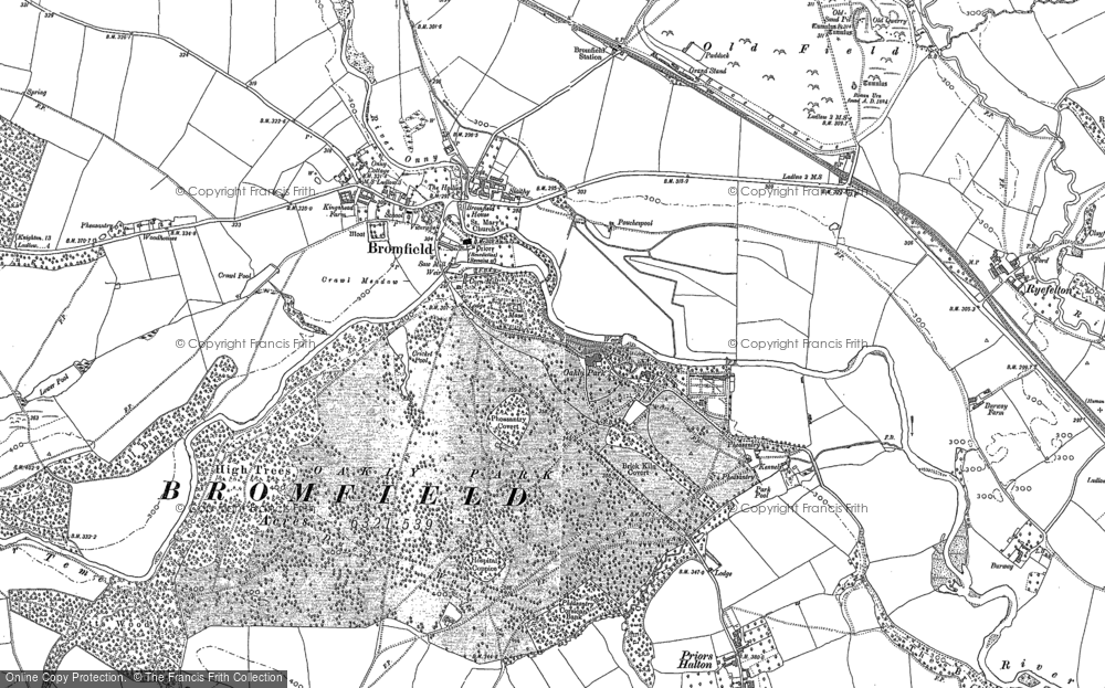 Old Map of Bromfield, 1883 - 1902 in 1883