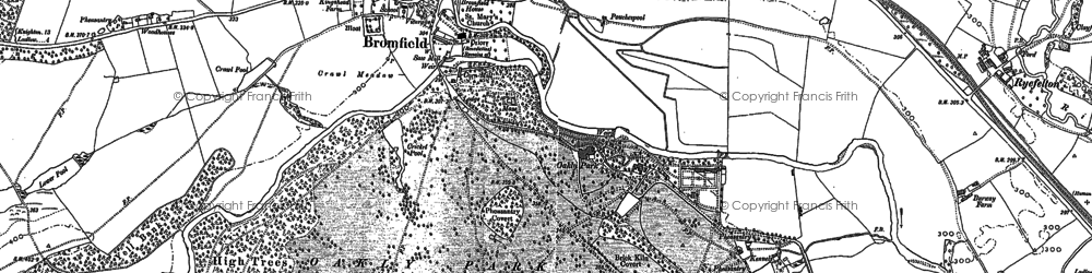 Old map of Woodhouses in 1883