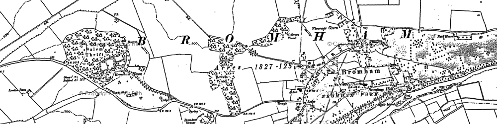 Old map of Bromham in 1882