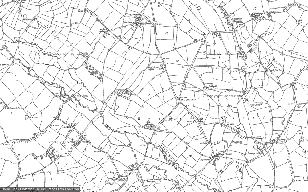 Old Map of Historic Map covering Ash Hill in 1881