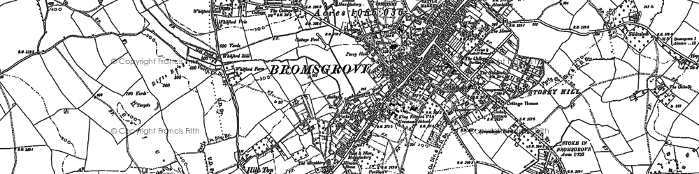 Old map of Bromsgrove in 1883