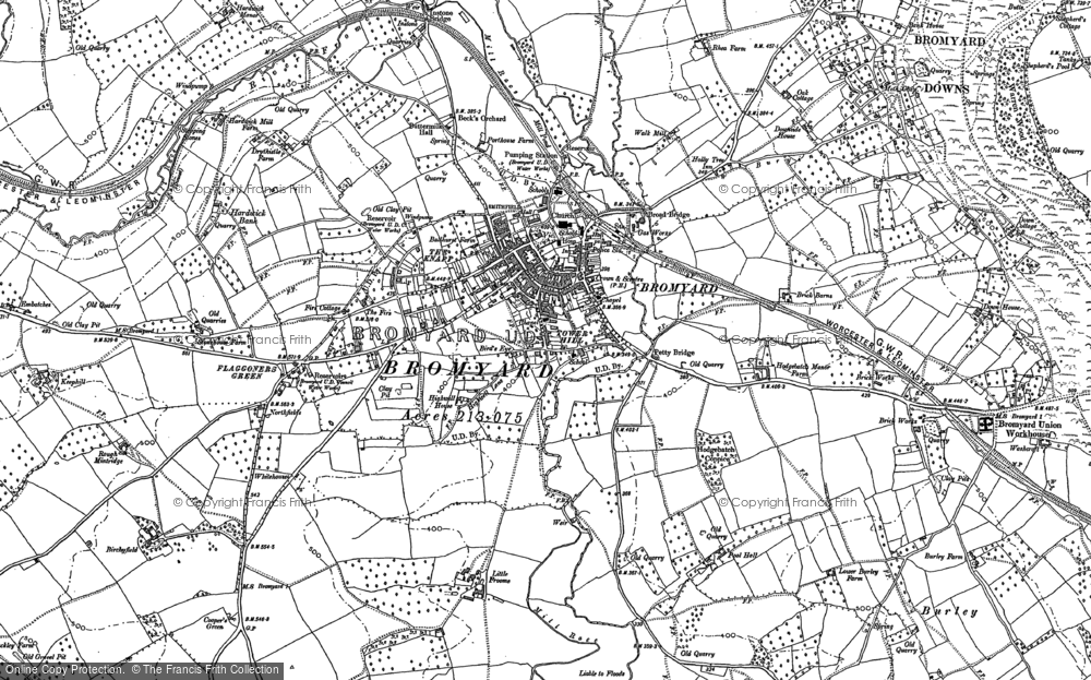 Old Map of Bromyard, 1885 in 1885