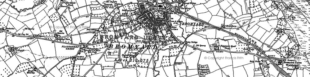 Old map of Bromyard in 1885