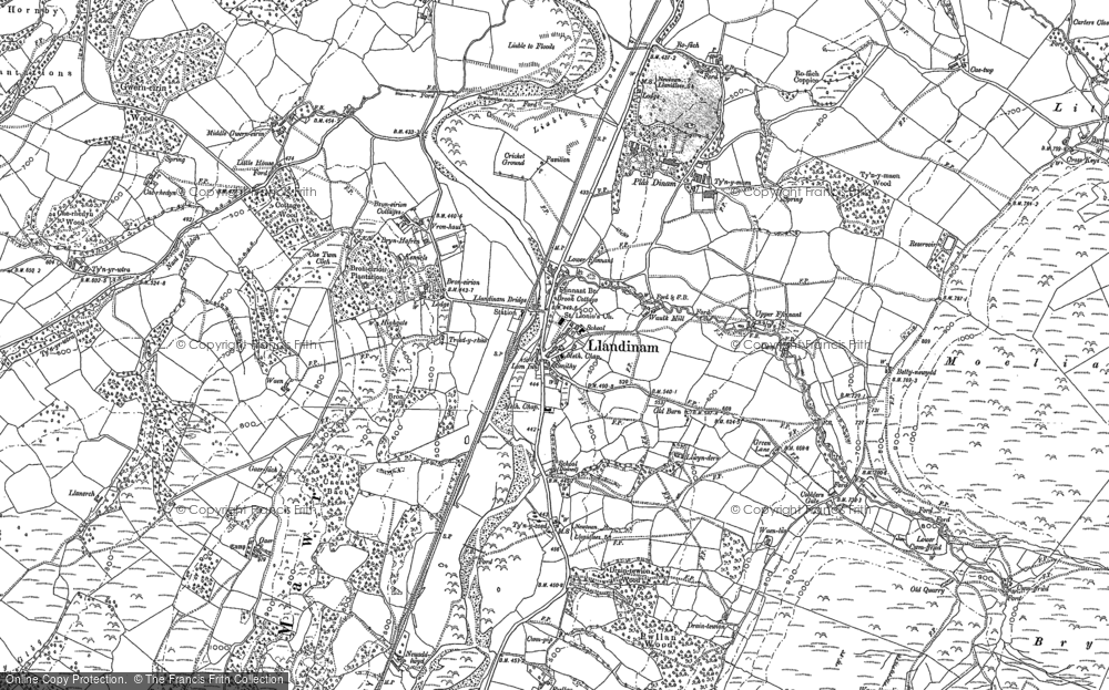 Old Map of Historic Map covering Allt y Moch in 1884