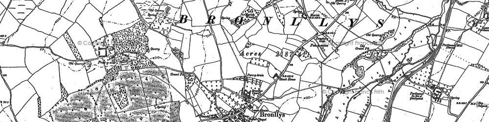 Old map of Bronllys in 1886