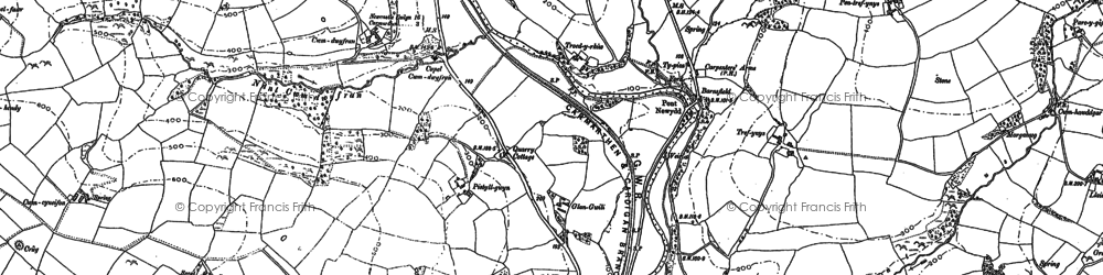 Old map of Bronwydd in 1886