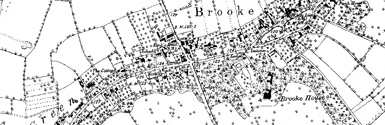 Old map of Brooke centred on your home